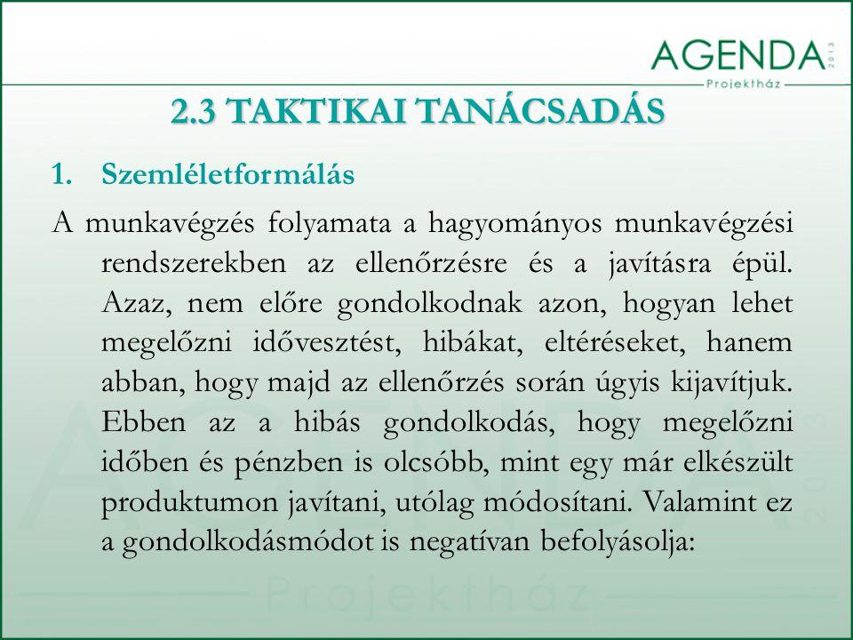 2.3 TAKTIKAI TANÁCSADÁS 1.Szemléletformálás A munkavégzés folyamata a hagyományos munkavégzési rendszerekben az ellenőrzésre és a javításra épül.