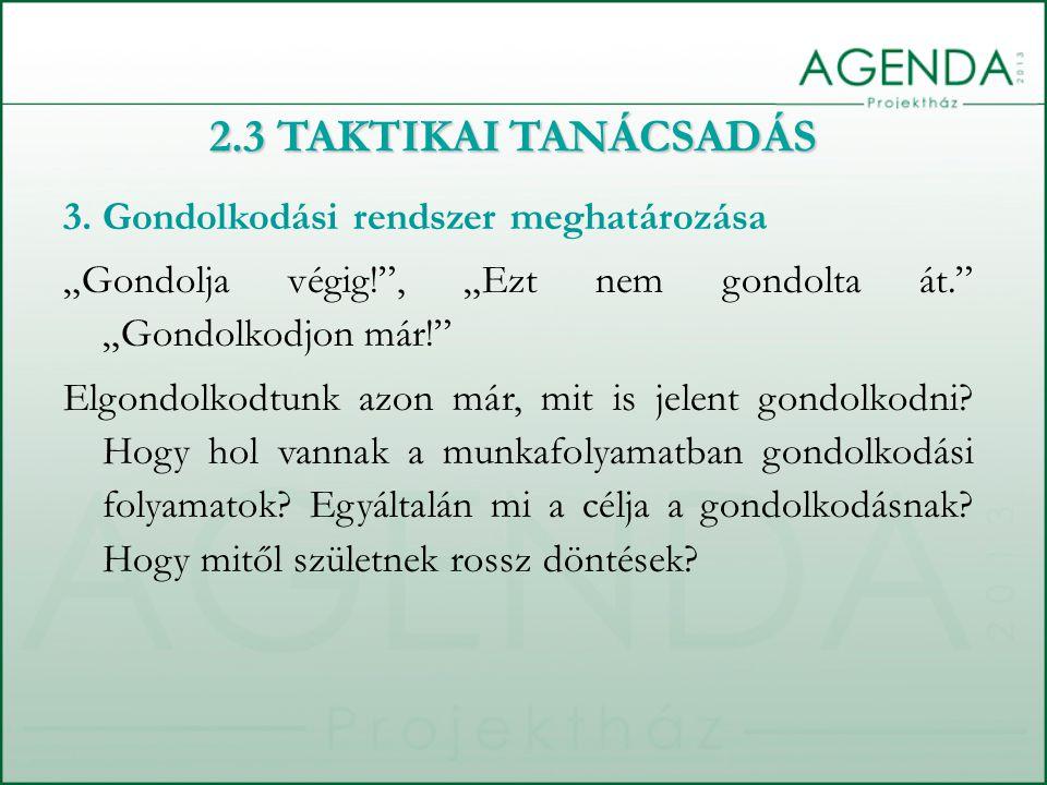 2.3 TAKTIKAI TANÁCSADÁS 3.