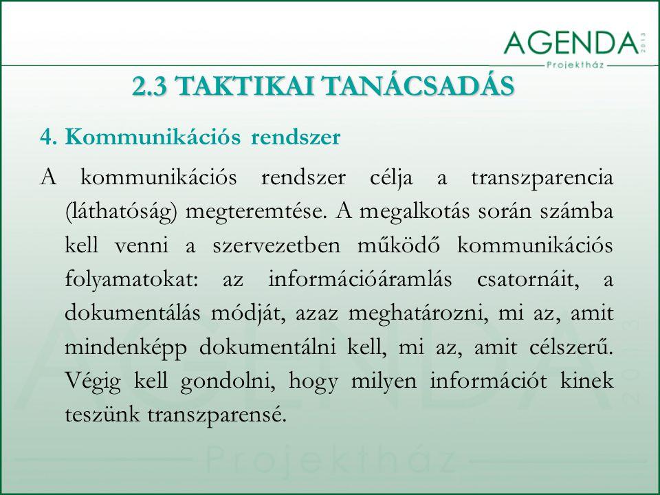 2.3 TAKTIKAI TANÁCSADÁS 4.