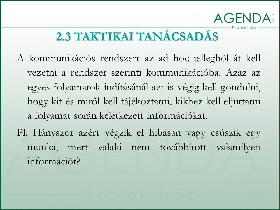 2.3 TAKTIKAI TANÁCSADÁS A kommunikációs rendszert az ad hoc jellegből át kell vezetni a rendszer szerinti kommunikációba.