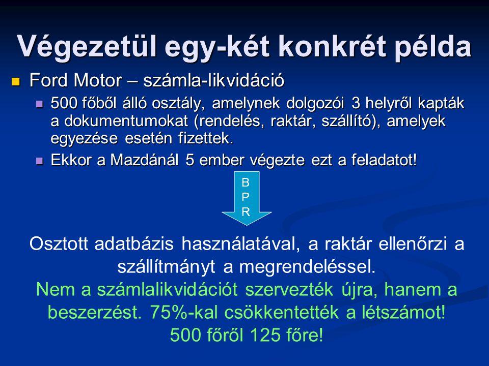 Végezetül egy-két konkrét példa  Ford Motor – számla-likvidáció  500 főből álló osztály, amelynek dolgozói 3 helyről kapták a dokumentumokat (rendel