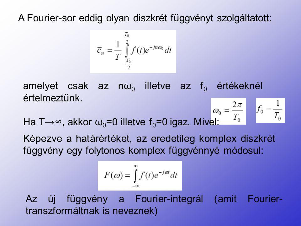 A Fourier-sor eddig olyan diszkrét függvényt szolgáltatott: amelyet csak az nω 0 illetve az f 0 értékeknél értelmeztünk. Ha T→∞, akkor ω 0 =0 illetve