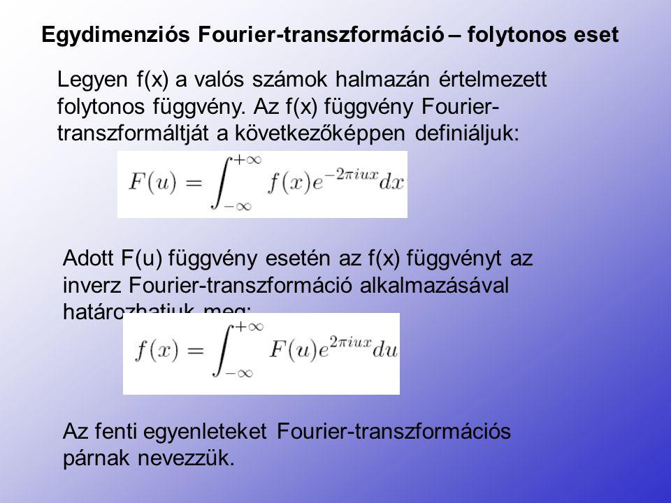 Egydimenziós Fourier-transzformáció – folytonos eset Legyen f(x) a valós számok halmazán értelmezett folytonos függvény. Az f(x) függvény Fourier- tra