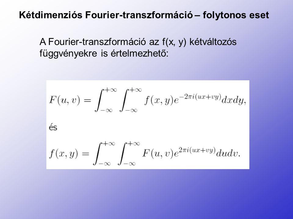 Kétdimenziós Fourier-transzformáció – folytonos eset A Fourier-transzformáció az f(x, y) kétváltozós függvényekre is értelmezhető: