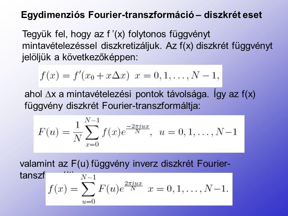 Egydimenziós Fourier-transzformáció – diszkrét eset Tegyük fel, hogy az f '(x) folytonos függvényt mintavételezéssel diszkretizáljuk. Az f(x) diszkrét