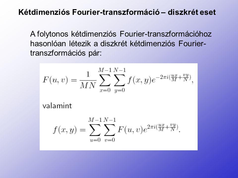 Kétdimenziós Fourier-transzformáció – diszkrét eset A folytonos kétdimenziós Fourier-transzformációhoz hasonlóan létezik a diszkrét kétdimenziós Fouri