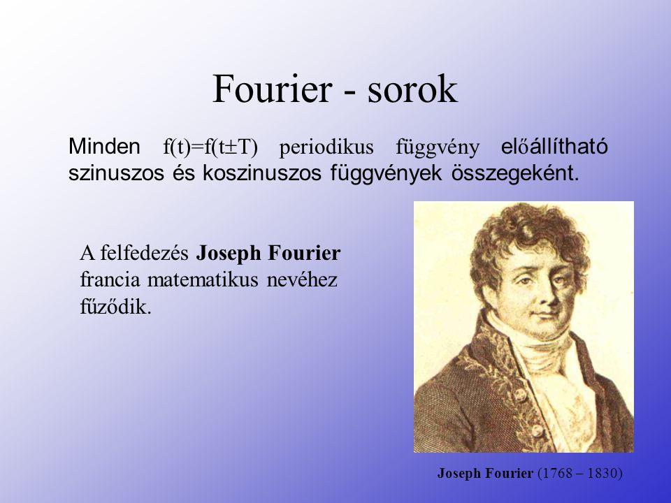 Fourier - sorok Minden f(t)=f(t  T) periodikus függvény el ő állítható szinuszos és koszinuszos függvények összegeként. A felfedezés Joseph Fourier f