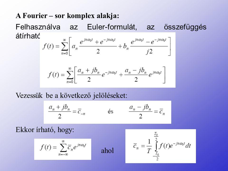 A Fourier – sor komplex alakja: Felhasználva az Euler-formulát, az összefüggés átírható: Vezessük be a következő jelöléseket: Ekkor írható, hogy: ahol