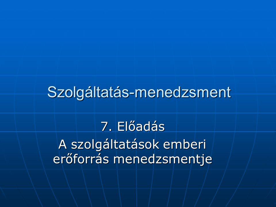 Szolgáltatás-menedzsment 7. Előadás A szolgáltatások emberi erőforrás menedzsmentje