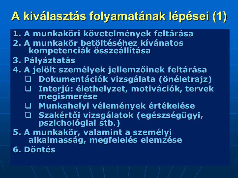 A kiválasztás folyamatának lépései (1) 1. A munkaköri követelmények feltárása 2. A munkakör betöltéséhez kívánatos kompetenciák összeállítása 3. Pályá