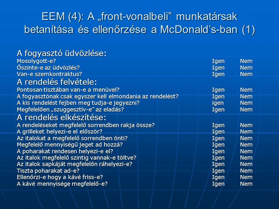 """EEM (4): A """"front-vonalbeli"""" munkatársak betanítása és ellenőrzése a McDonald's-ban (1) A fogyasztó üdvözlése: Mosolygott-e? Igen Nem Őszinte-e az üdv"""