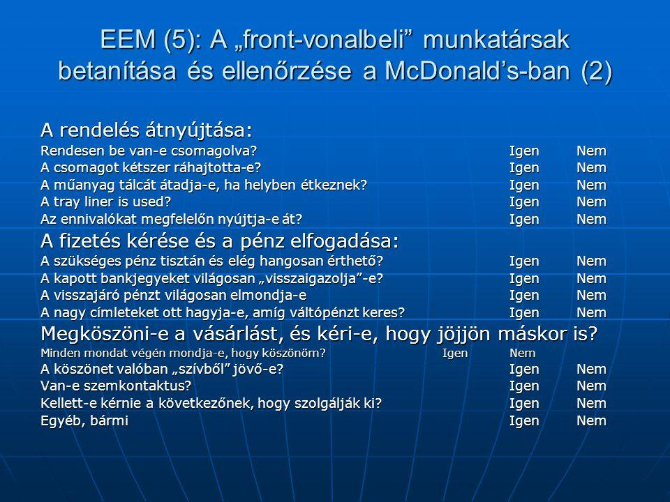 """EEM (5): A """"front-vonalbeli"""" munkatársak betanítása és ellenőrzése a McDonald's-ban (2) A rendelés átnyújtása: Rendesen be van-e csomagolva? Igen Nem"""