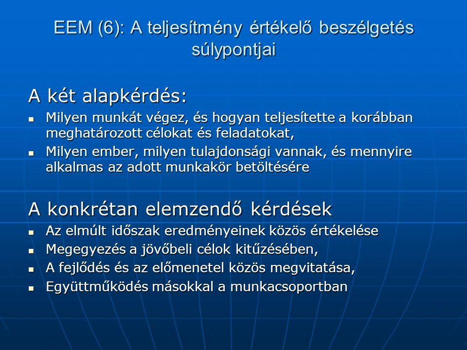 EEM (6): A teljesítmény értékelő beszélgetés súlypontjai A két alapkérdés:  Milyen munkát végez, és hogyan teljesítette a korábban meghatározott célo