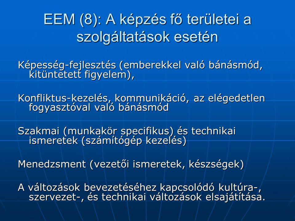 EEM (8): A képzés fő területei a szolgáltatások esetén Képesség-fejlesztés (emberekkel való bánásmód, kitüntetett figyelem), Konfliktus-kezelés, kommu