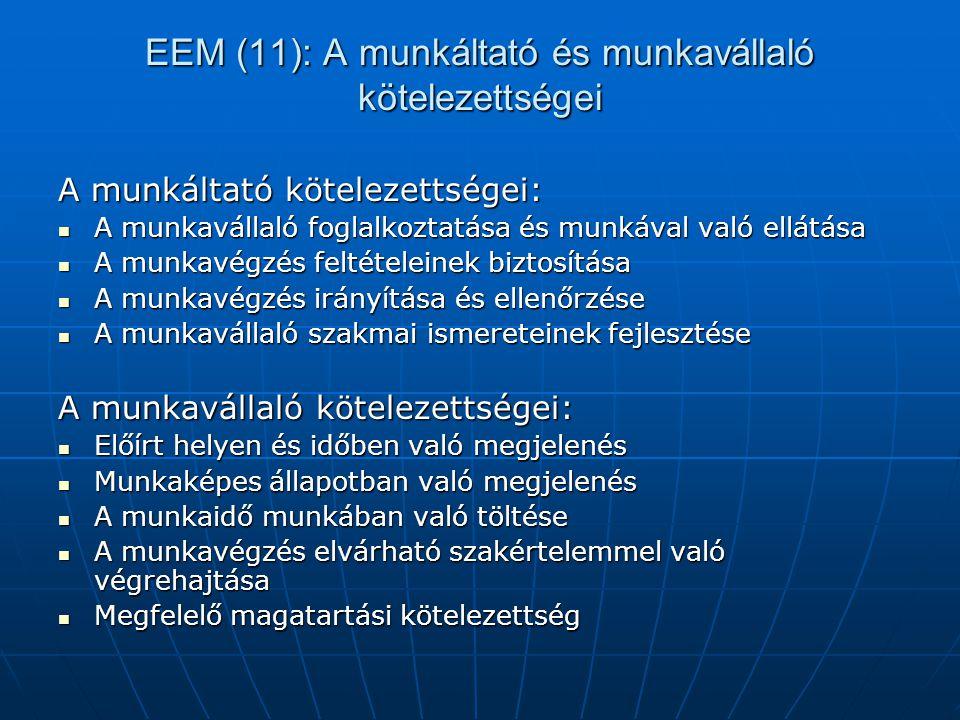 EEM (11): A munkáltató és munkavállaló kötelezettségei A munkáltató kötelezettségei:  A munkavállaló foglalkoztatása és munkával való ellátása  A mu