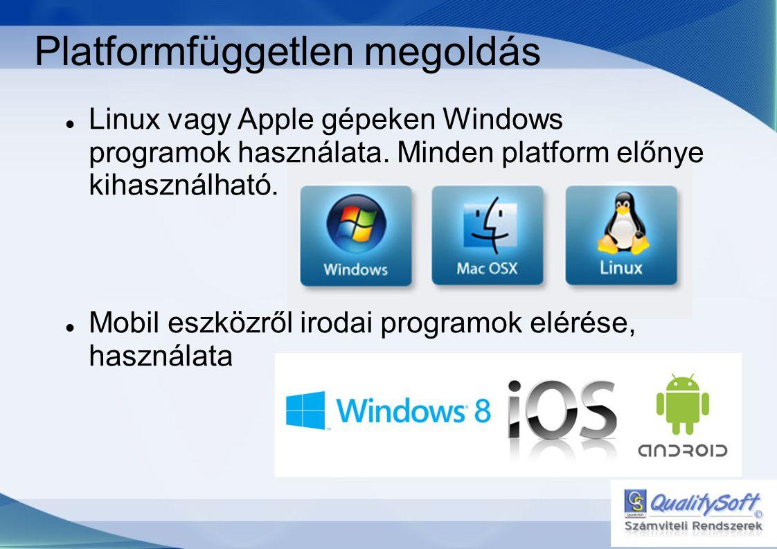 Platformfüggetlen megoldás  Linux vagy Apple gépeken Windows programok használata.