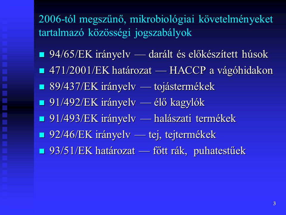 3 2006-tól megszűnő, mikrobiológiai követelményeket tartalmazó közösségi jogszabályok  94/65/EK irányelv — darált és előkészített húsok  471/2001/EK