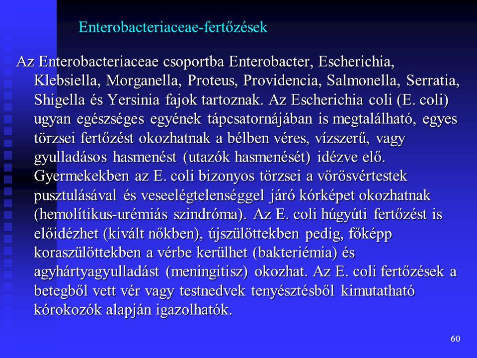 60 Enterobacteriaceae-fertőzések Az Enterobacteriaceae csoportba Enterobacter, Escherichia, Klebsiella, Morganella, Proteus, Providencia, Salmonella,