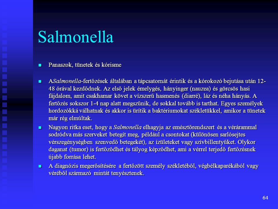64 Salmonella  Panaszok, tünetek és kórisme  ASalmonella-fertőzések általában a tápcsatornát érintik és a kórokozó bejutása után 12- 48 órával kezdő