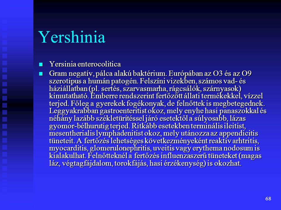 68 Yershinia  Yersinia enterocolitica  Gram negatív, pálca alakú baktérium. Európában az O3 és az O9 szerotípus a humán patogén. Felszíni vizekben,