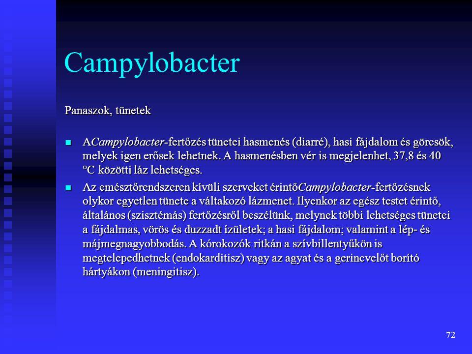 72 Campylobacter Panaszok, tünetek  ACampylobacter-fertőzés tünetei hasmenés (diarré), hasi fájdalom és görcsök, melyek igen erősek lehetnek. A hasme