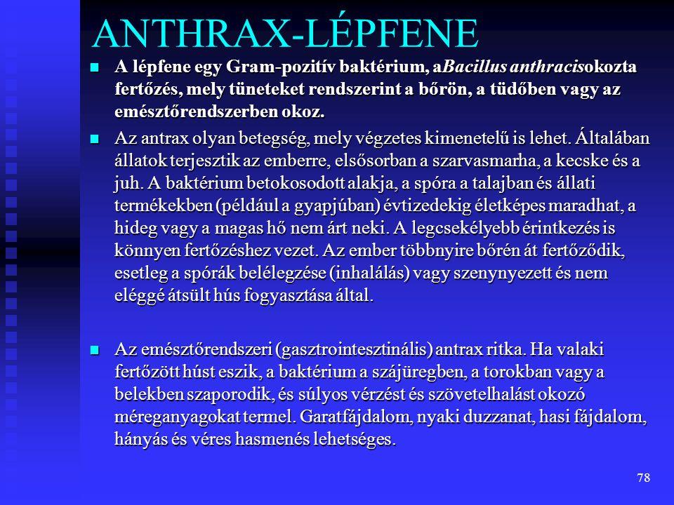 78 ANTHRAX-LÉPFENE  A lépfene egy Gram-pozitív baktérium, aBacillus anthracisokozta fertőzés, mely tüneteket rendszerint a bőrön, a tüdőben vagy az e