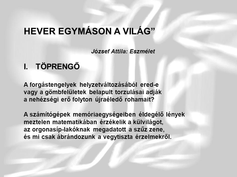 """3 HEVER EGYMÁSON A VILÁG"""" József Attila: Eszmélet I.TÖPRENGŐ A forgástengelyek helyzetváltozásából ered-e vagy a gömbfelületek belapult torzulásai adj"""