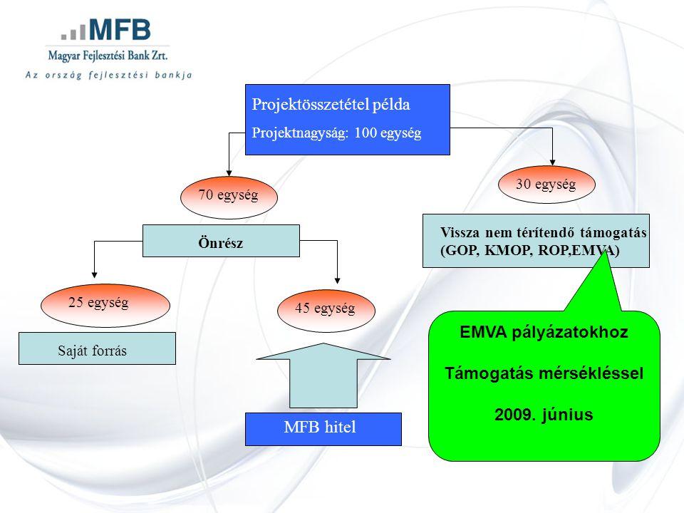 Projektösszetétel példa Projektnagyság: 100 egység 70 egység Saját forrás Vissza nem térítendő támogatás (GOP, KMOP, ROP,EMVA) Önrész 30 egység 25 egység 45 egység MFB hitel EMVA pályázatokhoz Támogatás mérsékléssel 2009.
