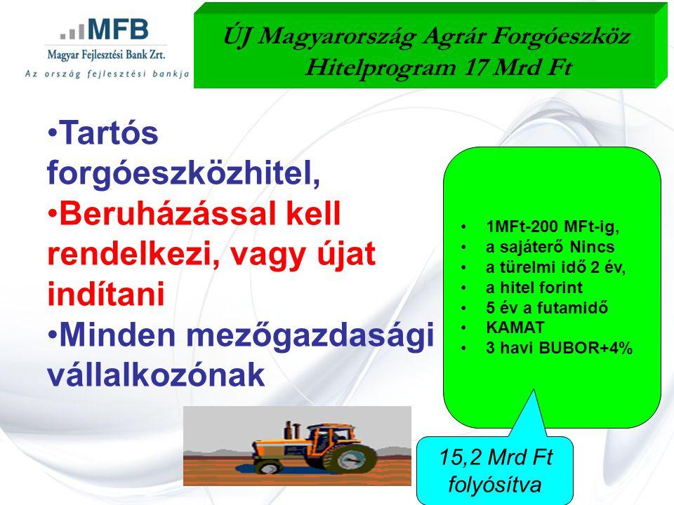 •Tartós forgóeszközhitel, •Beruházással kell rendelkezi, vagy újat indítani •Minden mezőgazdasági vállalkozónak ÚJ Magyarország Agrár Forgóeszköz Hitelprogram 17 Mrd Ft •1MFt-200 MFt-ig, •a sajáterő Nincs •a türelmi idő 2 év, •a hitel forint •5 év a futamidő •KAMAT •3 havi BUBOR+4% 15,2 Mrd Ft folyósítva
