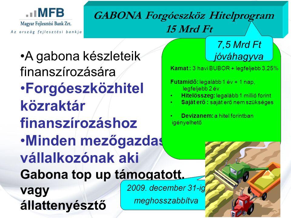 •A gabona készleteik finanszírozására •Forgóeszközhitel közraktár finanszírozáshoz •Minden mezőgazdasági vállalkozónak aki Gabona top up támogatott, vagy állattenyésztő GABONA Forgóeszköz Hitelprogram 15 Mrd Ft Kamat : 3 havi BUBOR + legfeljebb 3,25% Futamidő: legalább 1 év + 1 nap, legfeljebb 2 év •Hitelösszeg: legalább 1 millió forint •Saját erő : saját erő nem szükséges •Devizanem: a hitel forintban igényelhető 2009.