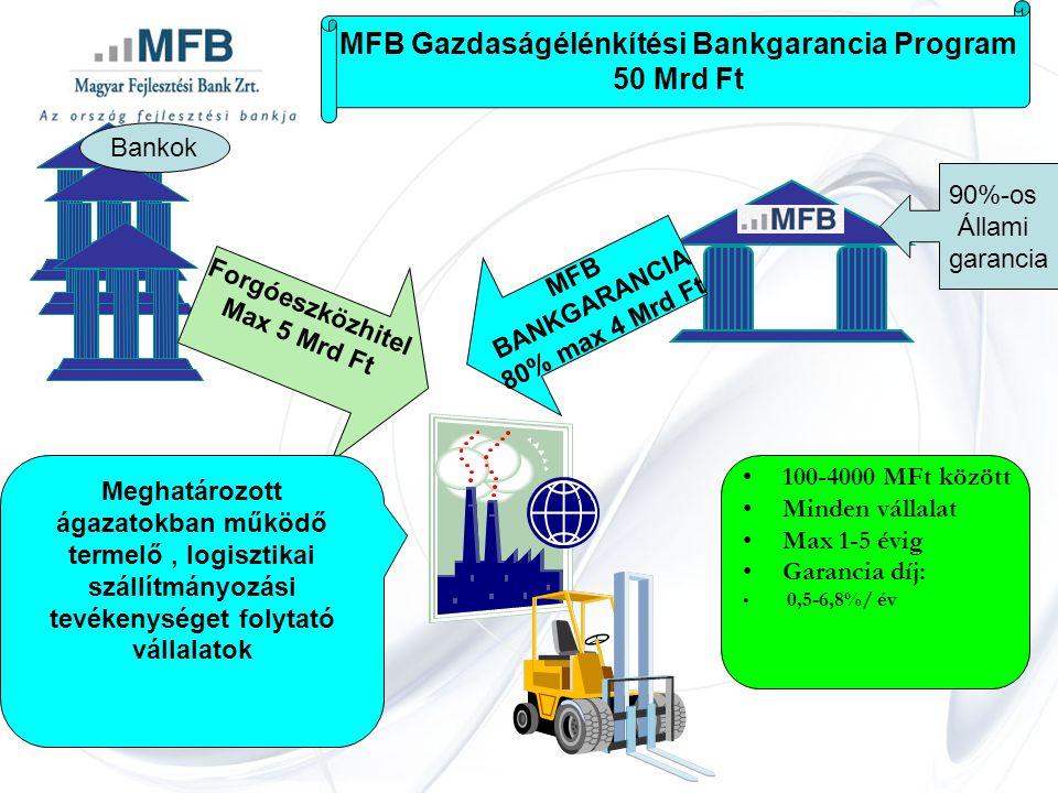 MFB Gazdaságélénkítési Bankgarancia Program 50 Mrd Ft Forgóeszközhitel Max 5 Mrd Ft Bankok MFB BANKGARANCIA 80% max 4 Mrd Ft 90%-os Állami garancia •100-4000 MFt között •Minden vállalat •Max 1-5 évig •Garancia díj: • 0,5-6,8%/ év Meghatározott ágazatokban működő termelő, logisztikai szállítmányozási tevékenységet folytató vállalatok