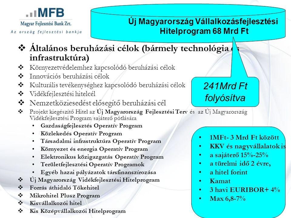  Általános beruházási célok (bármely technológia és infrastruktúra)  Környezetvédelemhez kapcsolódó beruházási célok  Innovációs beruházási célok  Kulturális tevékenységhez kapcsolódó beruházási célok  Vidékfejlesztési hitelcél  Nemzetköziesedést elősegítő beruházási cél  Projekt kiegészítő Hitel az Új Magyarország Fejlesztési Terv és az Új Magyarország Vidékfejlesztési Program sajáterő pótlására •Gazdaságfejlesztés Operatív Program •Közlekedés Operatív Program •Társadalmi infrastruktúra Operatív Program •Környezet és energia Operatív Program •Elektronikus közigazgatás Operatív Program •Területfejlesztési Operatív Programok •Egyéb hazai pályázatok társfinanszírozása  Új Magyarország Vidékfejlesztési Hitelprogram  Forrás áthidaló Tőkehitel  Mikrohitel Plusz Program  Kisvállalkozói hitel  Kis Középvállalkozói Hitelprogram Új Magyarország Vállalkozásfejlesztési Hitelprogram 68 Mrd Ft •1MFt- 3 Mrd Ft között •KKV és nagyvállalatok is •a sajáterő 15%-25% •a türelmi idő 2 évre, •a hitel forint •Kamat •3 havi EURIBOR+ 4% •Max 6,8-7% 241Mrd Ft folyósítva