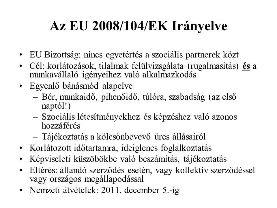 Az EU 2008/104/EK Irányelve •EU Bizottság: nincs egyetértés a szociális partnerek közt •Cél: korlátozások, tilalmak felülvizsgálata (rugalmasítás) és