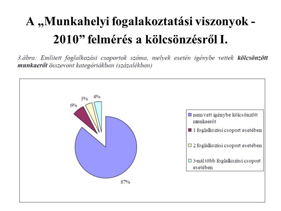 """A """"Munkahelyi fogalakoztatási viszonyok - 2010"""" felmérés a kölcsönzésről I."""
