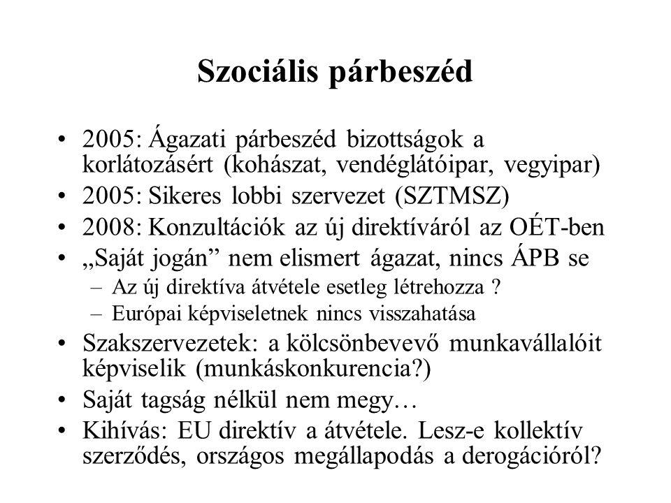 Szociális párbeszéd •2005: Ágazati párbeszéd bizottságok a korlátozásért (kohászat, vendéglátóipar, vegyipar) •2005: Sikeres lobbi szervezet (SZTMSZ)