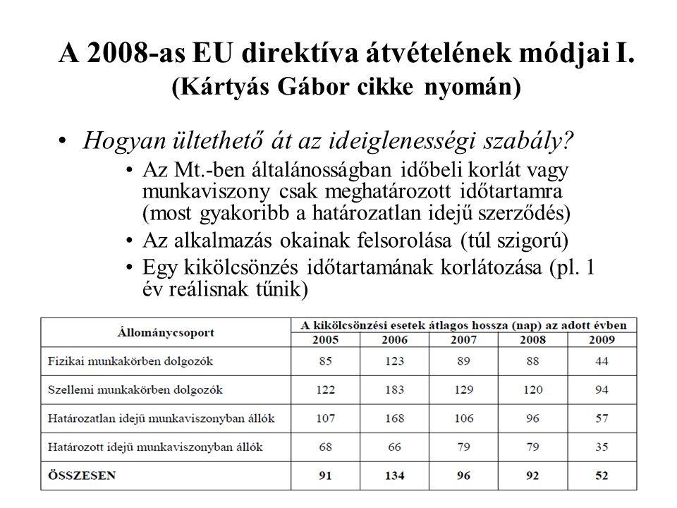 A 2008-as EU direktíva átvételének módjai I. (Kártyás Gábor cikke nyomán) •Hogyan ültethető át az ideiglenességi szabály? •Az Mt.-ben általánosságban