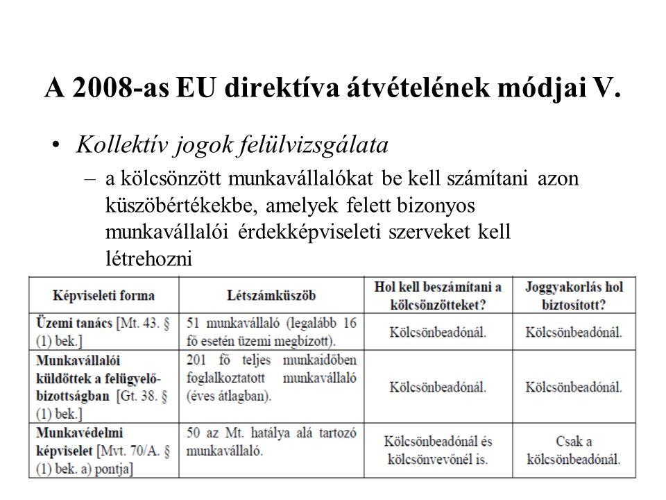 A 2008-as EU direktíva átvételének módjai V. •Kollektív jogok felülvizsgálata –a kölcsönzött munkavállalókat be kell számítani azon küszöbértékekbe, a