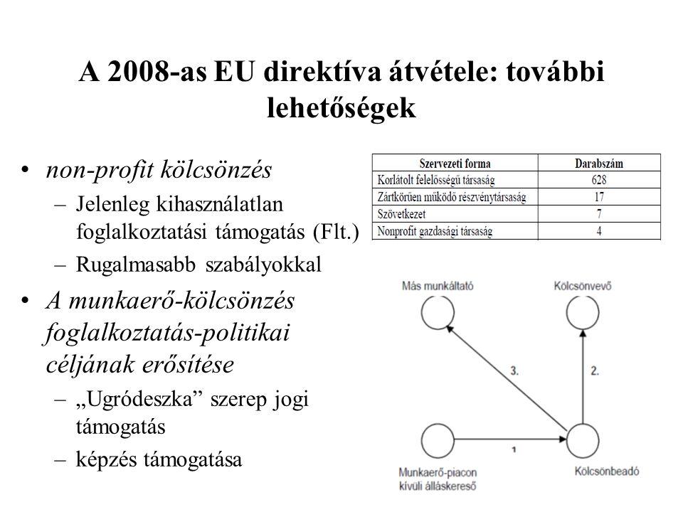 A 2008-as EU direktíva átvétele: további lehetőségek •non-profit kölcsönzés –Jelenleg kihasználatlan foglalkoztatási támogatás (Flt.) –Rugalmasabb sza