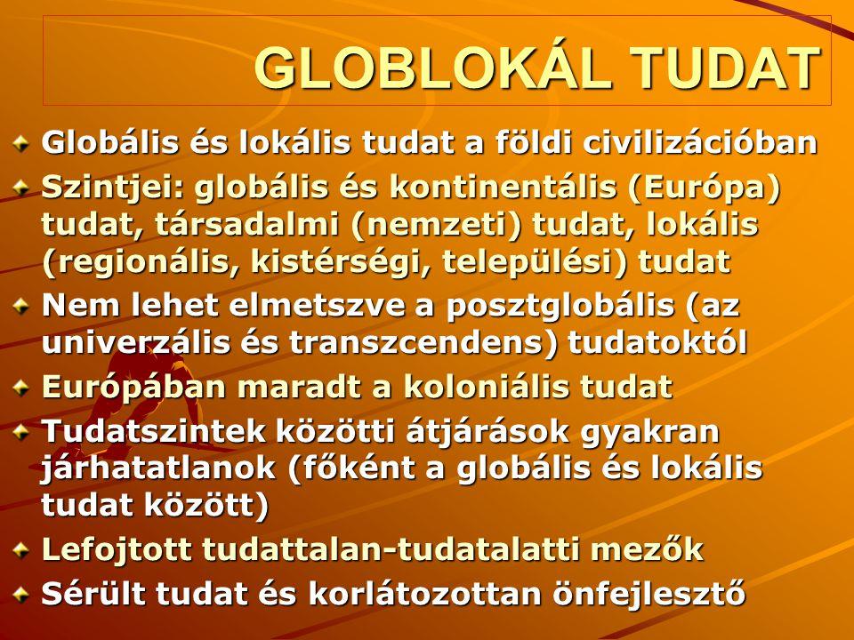 GLOBLOKÁL TUDAT Globális és lokális tudat a földi civilizációban Szintjei: globális és kontinentális (Európa) tudat, társadalmi (nemzeti) tudat, lokál