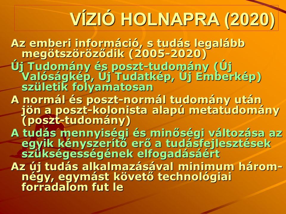 VÍZIÓ HOLNAPRA (2020) Az emberi információ, s tudás legalább megötszöröződik (2005-2020) Új Tudomány és poszt-tudomány (Új Valóságkép, Új Tudatkép, Új