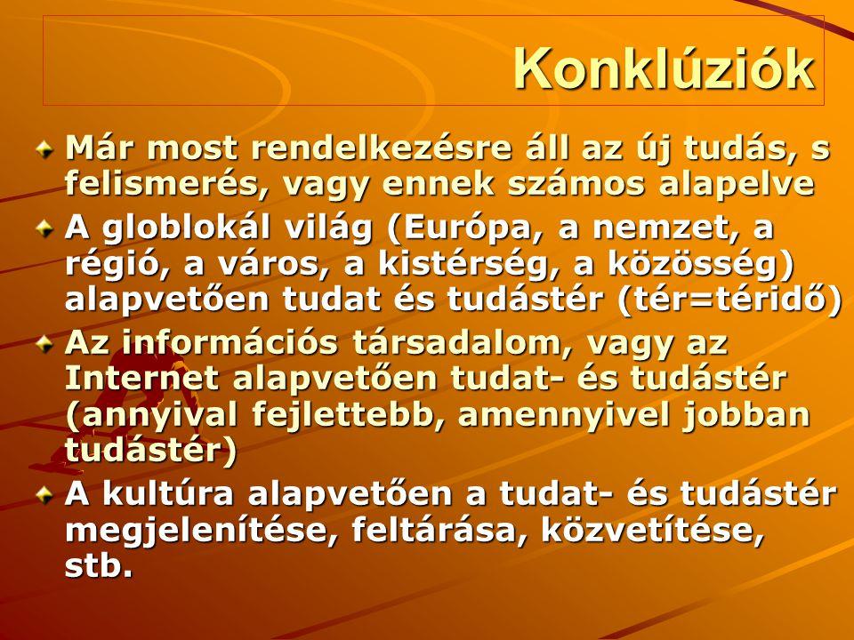Konklúziók Már most rendelkezésre áll az új tudás, s felismerés, vagy ennek számos alapelve A globlokál világ (Európa, a nemzet, a régió, a város, a k