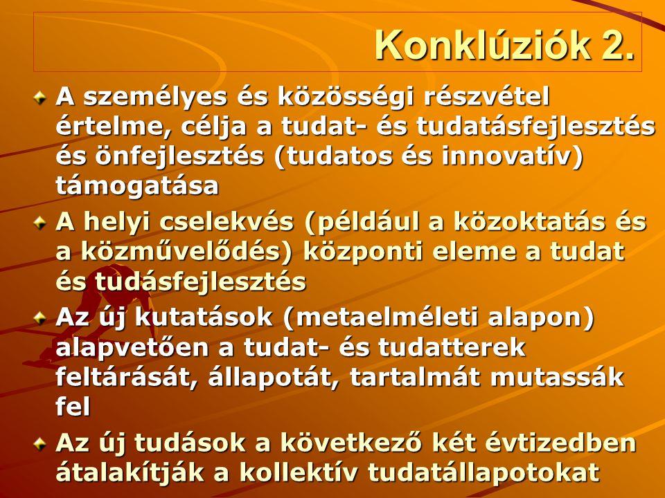 Konklúziók 2. A személyes és közösségi részvétel értelme, célja a tudat- és tudatásfejlesztés és önfejlesztés (tudatos és innovatív) támogatása A hely