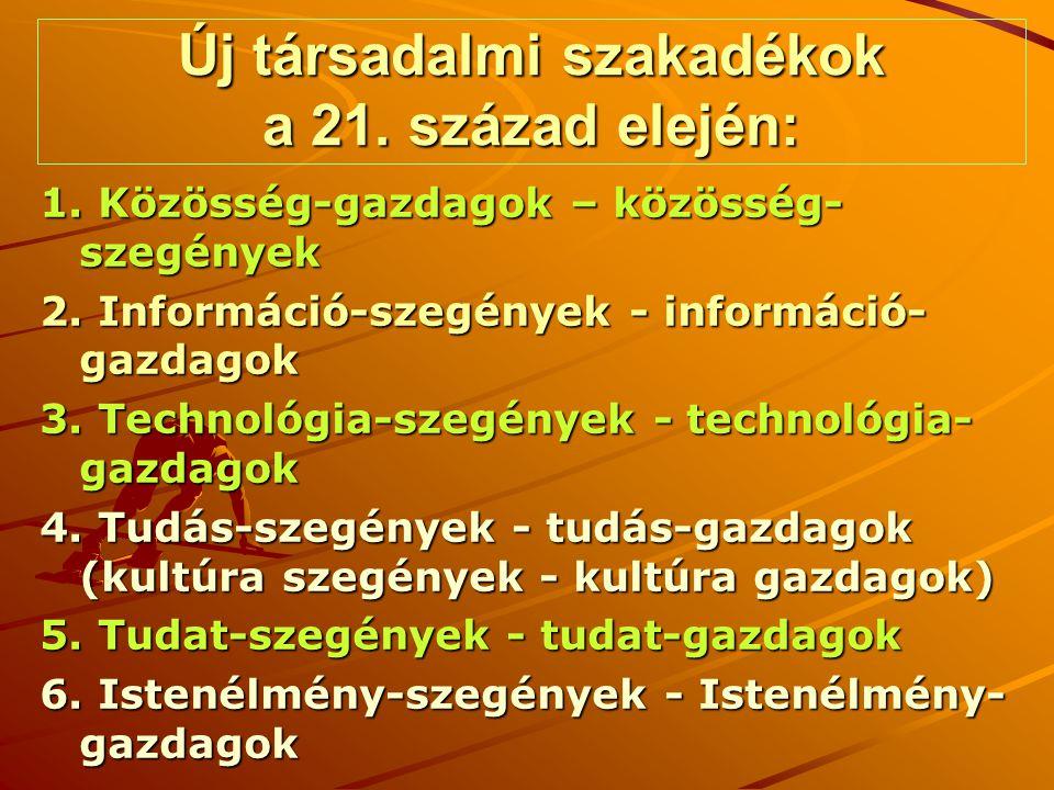 VÍZIÓ HOLNAPRA (2020) Az emberi információ, s tudás legalább megötszöröződik (2005-2020) Új Tudomány és poszt-tudomány (Új Valóságkép, Új Tudatkép, Új Emberkép) születik folyamatosan A normál és poszt-normál tudomány után jön a poszt-kolonista alapú metatudomány (poszt-tudomány) A tudás mennyiségi és minőségi változása az egyik kényszerítő erő a tudásfejlesztések szükségességének elfogadásáért Az új tudás alkalmazásával minimum három- négy, egymást követő technológiai forradalom fut le