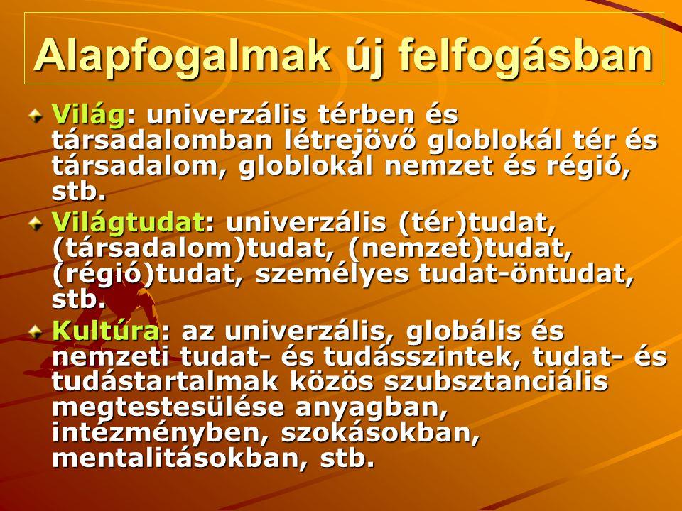 Konklúziók Már most rendelkezésre áll az új tudás, s felismerés, vagy ennek számos alapelve A globlokál világ (Európa, a nemzet, a régió, a város, a kistérség, a közösség) alapvetően tudat és tudástér (tér=téridő) Az információs társadalom, vagy az Internet alapvetően tudat- és tudástér (annyival fejlettebb, amennyivel jobban tudástér) A kultúra alapvetően a tudat- és tudástér megjelenítése, feltárása, közvetítése, stb.
