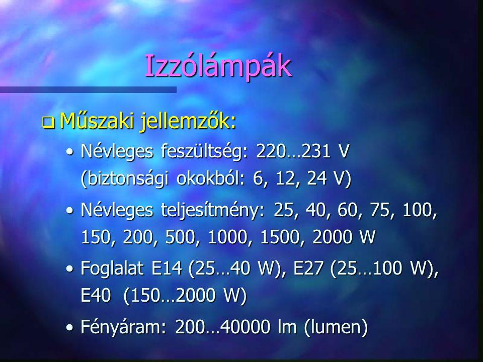 Izzólámpák q Műszaki jellemzők: •Névleges feszültség: 220…231 V (biztonsági okokból: 6, 12, 24 V) •Névleges teljesítmény: 25, 40, 60, 75, 100, 150, 20