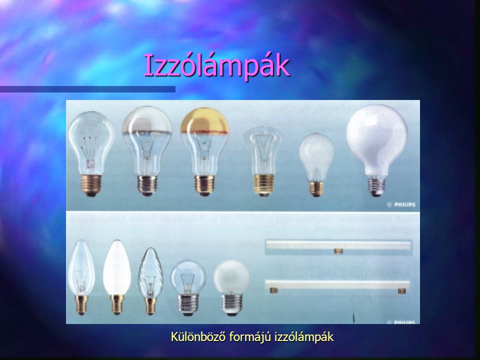 Izzólámpák Különböző formájú izzólámpák