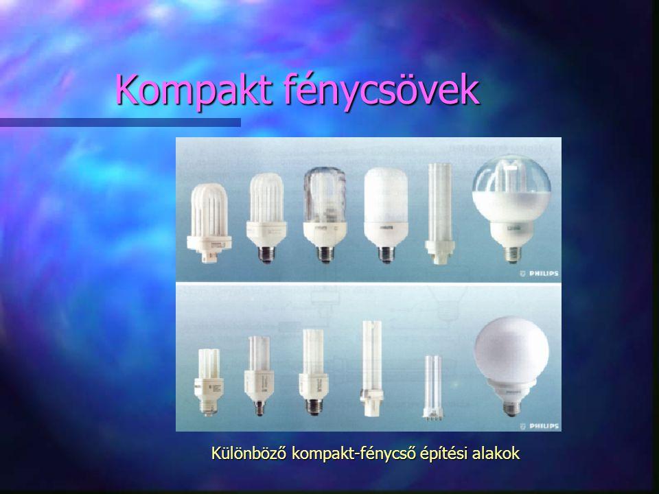 Kompakt fénycsövek Különböző kompakt-fénycső építési alakok