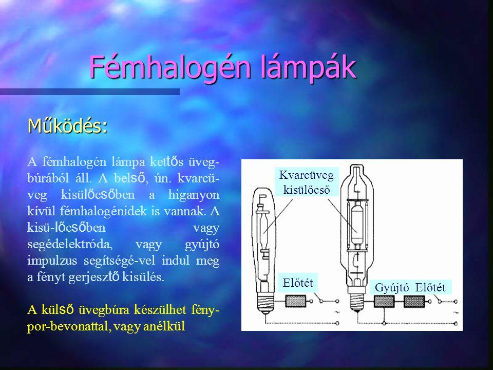Fémhalogén lámpák Működés: A fémhalogén lámpa ket tő s üveg- búrából áll. A bel ső, ún. kvarcü- veg kisü lő c ső ben a higanyon kívül fémhalogénidek i