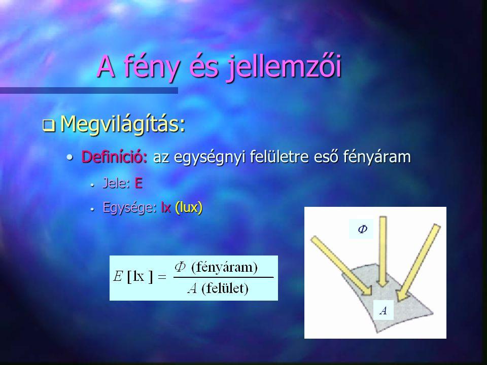 A fény és jellemzői q Megvilágítás: •Definíció: az egységnyi felületre eső fényáram • Jele: E • Egysége: lx (lux) A 