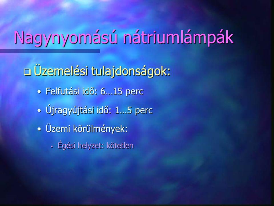 Nagynyomású nátriumlámpák q Üzemelési tulajdonságok: •Felfutási idő: 6…15 perc •Újragyújtási idő: 1…5 perc •Üzemi körülmények: • Égési helyzet: kötetl